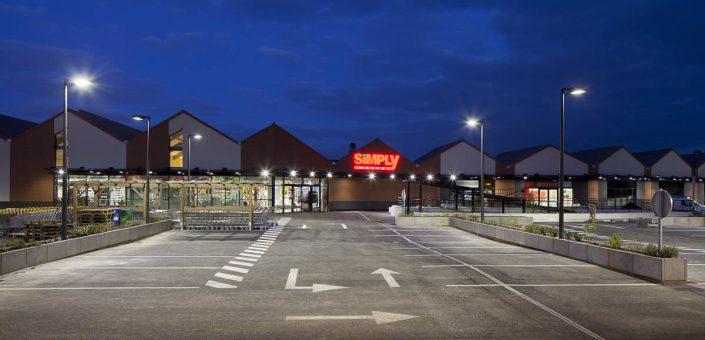 Eclairage du Simply Market de Saclay - Photographe Architecture nuit