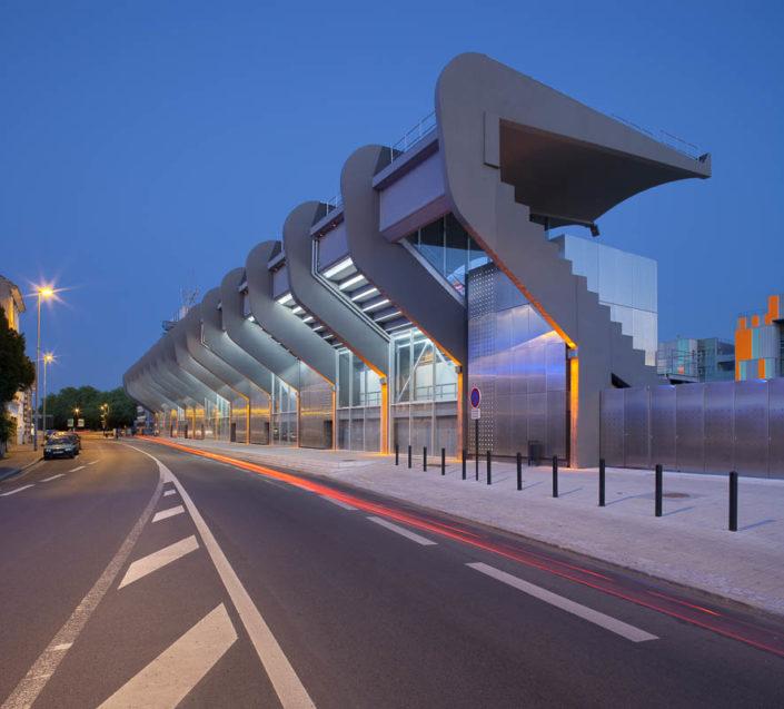 Eclairages tribunes stade Marcel Saupin à Nantes - Photographe Architecture nuit