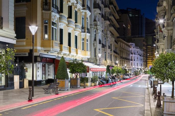 Éclairage public de l'avenue des Moulins à Monaco - Photographe Eclairage