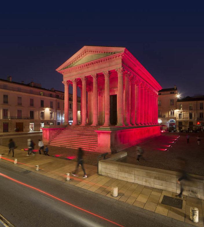 Maison carrée à Nîmes - Photographe Eclairage