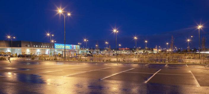 Eclairage Parking zone commerciale à Coignières (78) - Photographe Eclairage